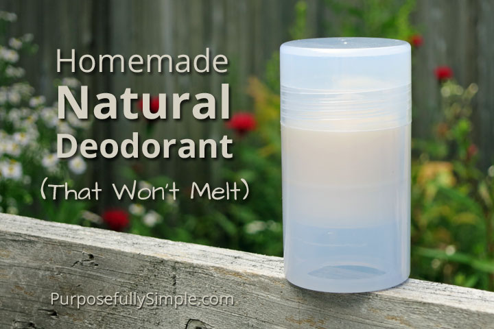 This natural deodorant recipe will keep you dry and stink free, AND won't melt in the warm weather. Find out how I make this simple recipe.